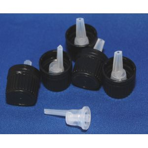 Tamper Evident Dropper Cap 0.7mm Insert Black (Set of 5)